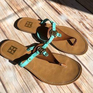 Tommy Hilfiger Blue Gold Thong Sandals Size 9M